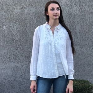 Free People crochet lace button up blouse